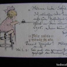 Postales: FELICITACIÓN DE AÑO NUEVO. 1915.. Lote 61410087