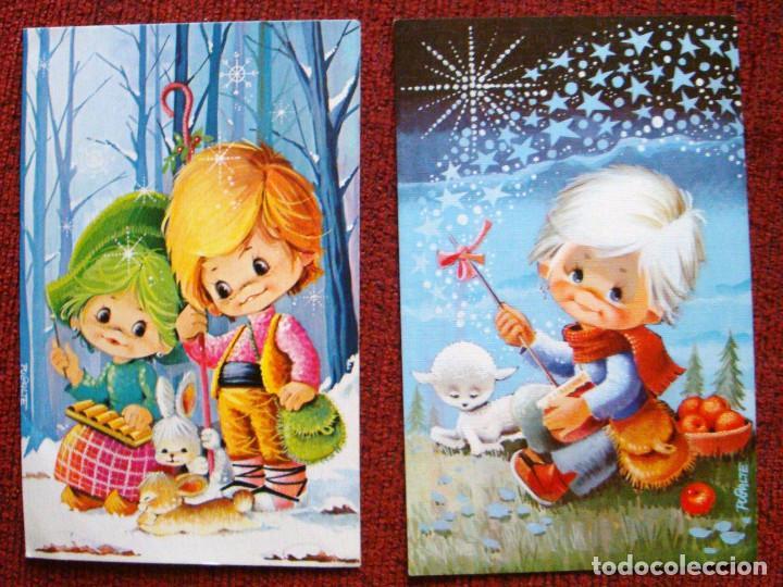NAVIDAD COLECCIÓN POSTAL 2 POSTALES FIRMADAS PUJALTE AÑOS 70-80 (Postales - Navidad)