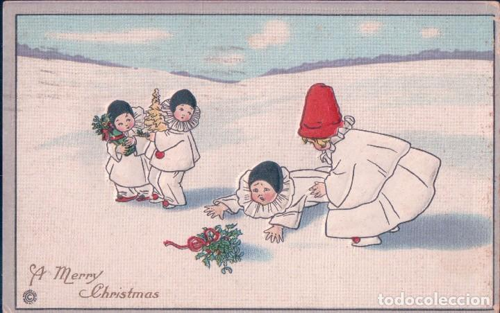POSTAL ANTIGUA DE NAVIDAD. A MERRY CHRISTMAS. EN RELIEVE , NIÑOS. CIRCULADA (Postales - Postales Temáticas - Navidad)