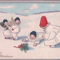 Postales: POSTAL ANTIGUA DE NAVIDAD. A MERRY CHRISTMAS. EN RELIEVE , NIÑOS. CIRCULADA. Lote 63446692