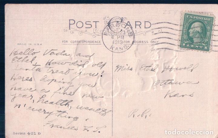 Postales: POSTAL ANTIGUA DE NAVIDAD. A MERRY CHRISTMAS. EN RELIEVE , NIÑOS. CIRCULADA - Foto 2 - 63446692