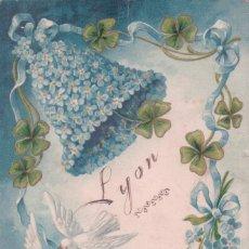 Postales: POSTAL ANTIGUA DE NAVIDAD. AÑO NUEVO. BONNE ANNEE LYON. CIRCULADA 1905. Lote 63446932
