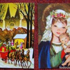 Postales: NAVIDAD POSTAL 2 PEQUEÑAS POSTALES AÑOS 70-80 PORTAL BELÉN PESEBRE VIRGEN JESÚS. Lote 63719991