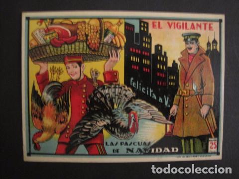EL VIGILANTE - FELICITACION ANTIGUA -VER FOTOS Y TAMAÑO -(V-7624) (Postales - Postales Temáticas - Navidad)