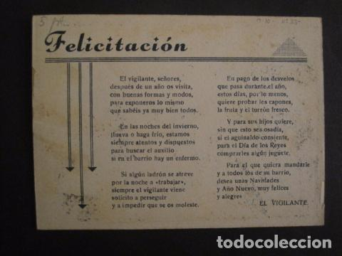 Postales: EL VIGILANTE - FELICITACION ANTIGUA -VER FOTOS Y TAMAÑO -(V-7624) - Foto 2 - 67858173