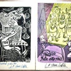 Postales: 2 TARJETAS FELICITACIÓN NAVIDEÑAS 1957 Y 1960 DIBUJANTE LUIS PABLO SANZ LAFITA FIRMADAS Y DEDICADAS. Lote 71710371
