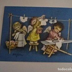 Postales: JUAN FERRANDIZ - ANTIGUA FELICITACIÓN DE NAVIDAD ANGELITOS - FECHADA OLOT 1958. Lote 73753515