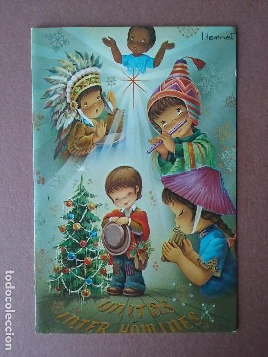 POSTAL NAVIDAD. NIÑOS DEL MUNDO. VERNET. CYZ. 1358/33-D. 1972. DIPTICA. (Postales - Postales Temáticas - Navidad)