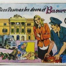 Postales: FELICES PASCUAS LES DESEA EL BASURERO 1970. Lote 77523801