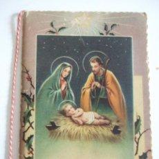 Postales: TARJETA DOBLE NAVIDAD - SAGRADA FAMILIA - FELICITACION NAVIDEÑA - ESCRITA. Lote 79057797