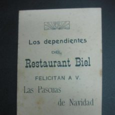 Postales: FELICITACION NAVIDEÑA. LOS DEPENDIENTES DEL RESTAURANT BIEL FELICITAN LAS PASCUAS DE NAVIDAD.. Lote 80191473