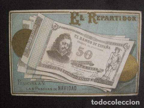 EL REPARTIDOR BANCO DE ESPAÑA 50 PTS.- FELICITA PASCUAS NAVIDAD- MUY ANTIGUA -VER FOTOS -(V-10.368) (Postales - Postales Temáticas - Navidad)