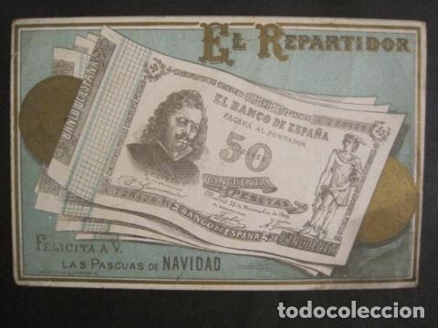 Postales: EL REPARTIDOR BANCO DE ESPAÑA 50 PTS.- FELICITA PASCUAS NAVIDAD- MUY ANTIGUA -VER FOTOS -(V-10.368) - Foto 2 - 82314940