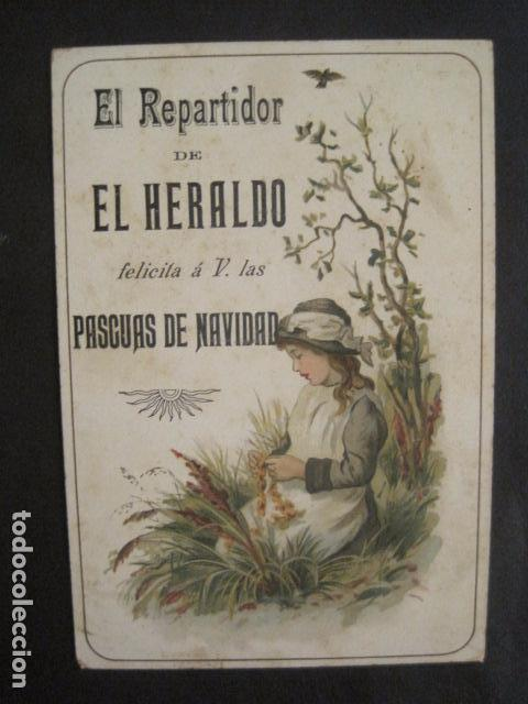 EL REPARTIDOR DE EL HERALDO - FELICITA PASCUAS NAVIDAD- ANTIGUA -VER FOTOS -(V-10.371) (Postales - Postales Temáticas - Navidad)