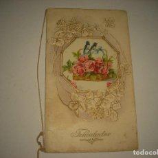 Postales: PRECIOSA Y ANTIGUA POSTAL DE FELICIDADES ,TROQUELADA . ESCRITA EN LA NAVIDAD DE 1913. Lote 86533744