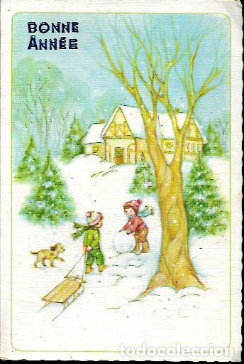 FELICITACIÓN NAVIDAD * NIÑOS JUGANDO EN LA NIEVE * 1979 (Postales - Postales Temáticas - Navidad)