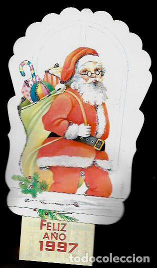 FELICITACION NAVIDAD - CALENDARIO LOPEZ * PAPÁ NOEL * ADORNADO CON PURPURINA 1997 (Postales - Postales Temáticas - Navidad)