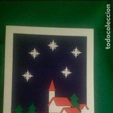 Postales: POSTAL NAVIDEÑA «PUEBLO CON ESTRELLAS» AÑO 1994 DOBLE. 11,5 X 17,5 CMS. MECANOGRAFIADA. Lote 90116376
