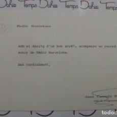 Postales: TARJETA FELICITACION NAVIDAD SIMPLE RADIO BARCELONA 1987. Lote 91218740