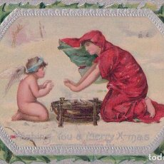 Postales: PRECIOSA POSTAL DE NAVIDAD RELIEVE - WISHING YOU A MERRY X-MAS - SERIE 403 - CIRCULADA 1920 - ANGEL. Lote 93083370