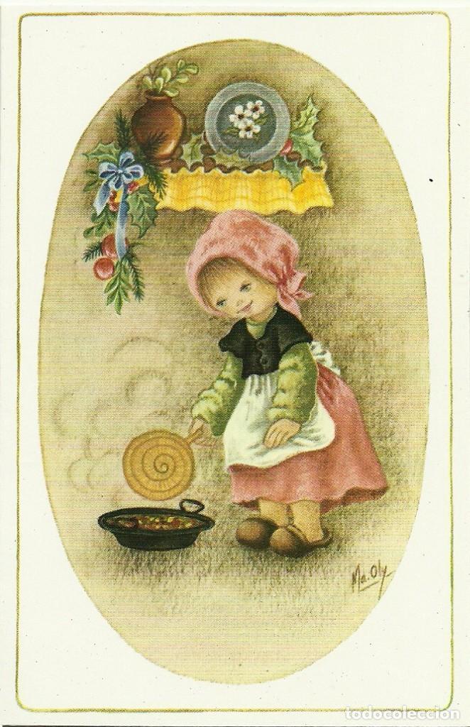 0717Y - LA CASTAÑERA - ILUSTRA MA. OLY - EDICIONES ORTIZ X172 - DIPTICA 13X8,5 CM (Postales - Postales Temáticas - Navidad)