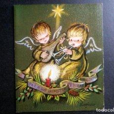 Postales: TARJETA DIPTICO FELICITACION NAVIDAD FERRANDIZ ESCRITA AÑO 1987 ANGELES / 11,5 X 14 CM. Lote 98516747