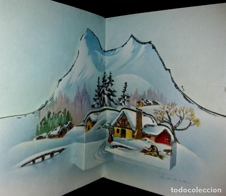 FELICITACION TROQUELADA NAVIDAD LÓPEZ -ADORNADA CON PURPURINA (Postales - Postales Temáticas - Navidad)