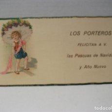 Postales: ANTIGUA TARJETA FELICITACION DE NAVIDAD LOS PORTEROS. Lote 100662183