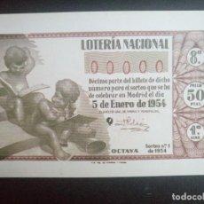 Postales: POSTAL DECIMOS DEL SORTEO DEL NIÑO SERIE 0 NUMERO 3 AÑO 1954. Lote 101064715