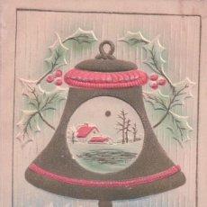 Postales: POSTAL CAMPANA NAVIDAD - MERRY CHRISTMAS - RELIEVE . Lote 103617703