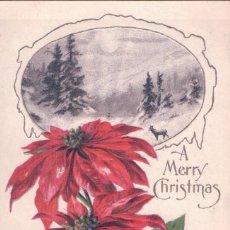 Postales: POSTAL EN RELIEVE FELIZ NAVIDAD - A MERRY CHRISTMAS - DIBUJO PAISAJE - FLOR DE PASCUA. Lote 103760115