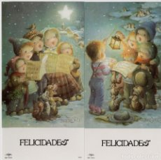 Postales: LOTE DE 2 POSTALES FERRÁNDIZ REF. 49451 SENCILLA CON SOBRE FELICIDADES ESTAMPADO EN ORO. Lote 218787695
