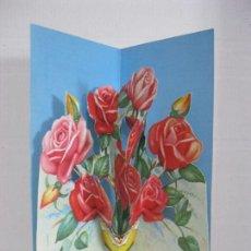 Postales: POSTAL RAMO DE FLORES TROQUELADA DESPLEGABLE VER FOTO ADICIONAL. Lote 109462703