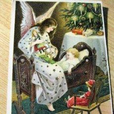 Postales: PRECIOSA POSTAL FELICITACION NAVIDAD CON BRILLOS AÑO 1915 . ESCRITA. Lote 111545599