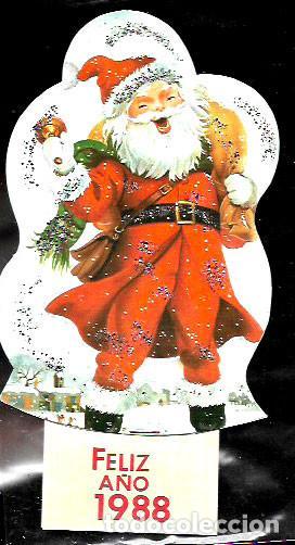 FELICITACION NAVIDAD - CALENDARIO* PAPÁ NOEL * ADORNADO CON PURPURINA 1988 (Postales - Postales Temáticas - Navidad)