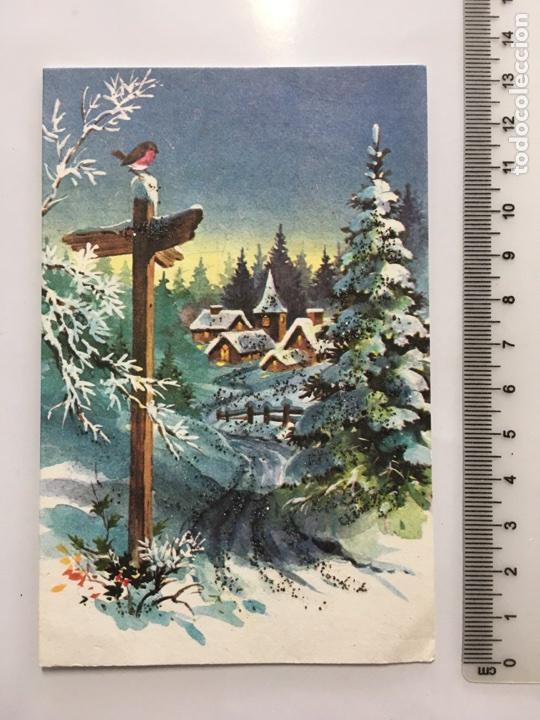 FELICITACIÓN NAVIDAD. DIPTICO. ILUSTRACIÓN SIN IDENTIFICAR. H. 1960. PRINTED IN U. K. (Postales - Postales Temáticas - Navidad)