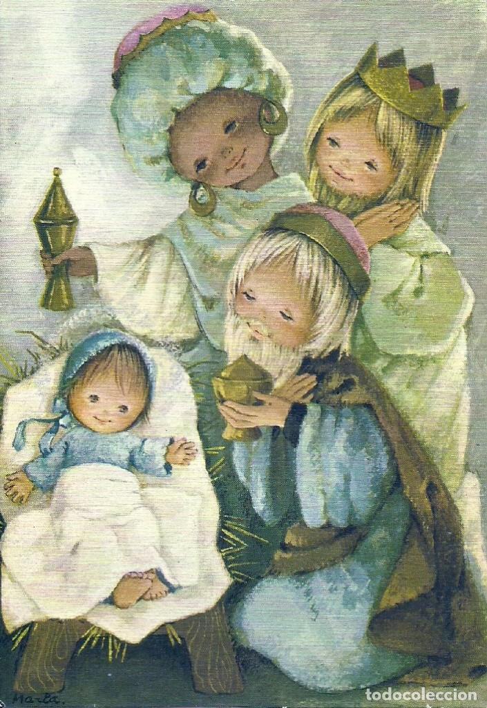 0776U - LOS REYES Y EL NIÑO - PRECIOSA POSTAL - ADORANDO AL NIÑO - 16,5X11,5 CM - ILUSTRA MARIA (Postales - Postales Temáticas - Navidad)