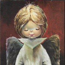 Postales: FELICITACION NAVIDAD VERNET * ANGEL CON UN PERRITO Y UN GATITO * 1963 ( 23 X 12 ). Lote 118386963