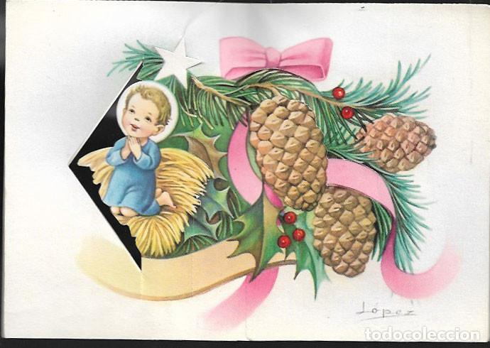 FELICITACION TROQUELADA NAVIDAD LOPEZ * NIÑO REZANDO * 1963 (Postales - Postales Temáticas - Navidad)