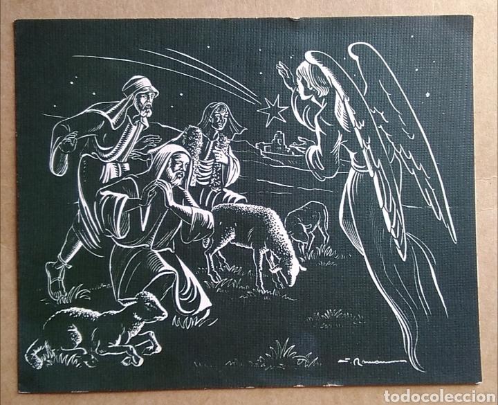 BONITA TARJETA FELICITACIÓN NAVIDAD ANGEL ANUNCIANDO A LOS PASTORES ILUSTRA RAMÓN 1963 /15 X 12 CM (Postales - Postales Temáticas - Navidad)