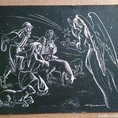 Postales: BONITA TARJETA FELICITACIÓN NAVIDAD ANGEL ANUNCIANDO A LOS PASTORES ILUSTRA RAMÓN 1963 /15 X 12 CM. Lote 122194775