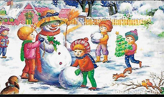 Felicitacion Navidad Ninos Jugando En La Niev Comprar Postales