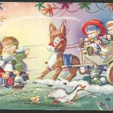 Postales: POSTAL NAVIDAD *VERNET* - ANGELES EN MOTO - AÑO 1961 - DIPTICA, GRANDE 24X11,5 CM. Lote 124468567