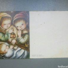 Postales: ESTAMPA FELICITACION NAVIDAD PASTORCILLOS CON EL NIÑO ILUSTRA ANA / 11 X 6,5 CM. Lote 148620426