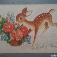 Postales: POSTAL FELICITACIÓN HOLANDESA CERVATILLO ESCRITA AÑO 1955. Lote 125244680