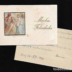 Postales: FELICITACION NAVIDAD AÑO 1929 * REYES MAGOS ADORANDO AL NIÑO *. Lote 125336379