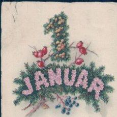 Postales: POSTAL ALEMANA FELIZ AÑO NUEVO - GLUCKLICHES NEUJAHR - DIBUJO 1 JANUAR CON FLORES - CIRCULADA. Lote 125404987