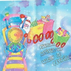Postales: FELICITACION NAVIDAD * PAPÁ NOEL LLEGANDO CON EL TREN *TROQUELADA. Lote 125953987
