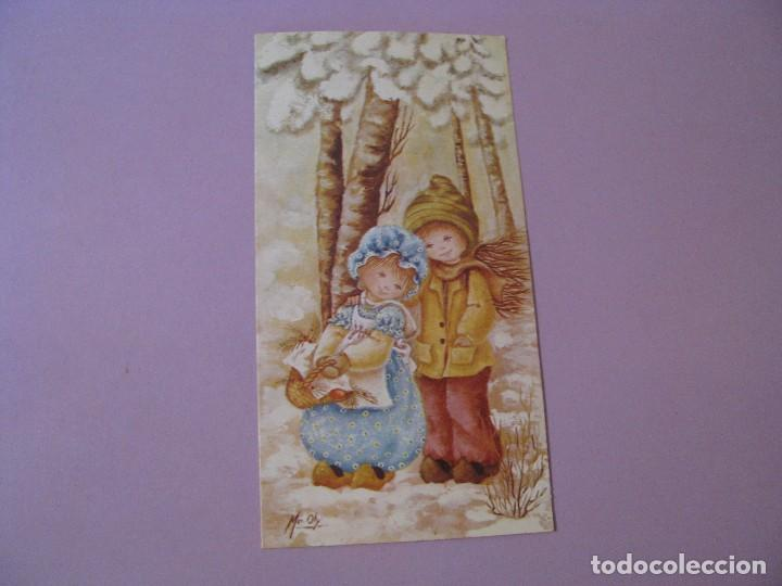 POSTAL DIPTICA DE ILUSTR. MA. OLY. ED. ORTIZ X300. ESCRITA. 16X8,5 CM. (Postales - Postales Temáticas - Navidad)