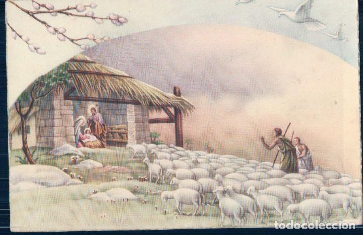 POSTAL DIBUJO PORTAL DE BELEN - SAN JOSE - MARIA Y NIÑO JESUS - PASTORES Y OVEJAS - ESCRITA (Postales - Postales Temáticas - Navidad)